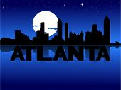 Atlanta skyline reflected with text and moon vector illustration