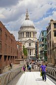 LONDON, UK - JUNE 30, 2014: St. Paul's cathedral from the millenium bridge