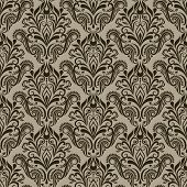 Seamless vintage beige and brown floral wallpaper vector pattern.
