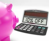 Ten Percent Off Calculator Shows Discount Reduction