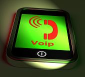 Voip On Phone Shows Voice Over Internet Protocol And Ip Telephony