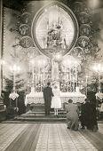 POLAND, CIRCA FIFTIES - vintage photo of wedding ceremony in church