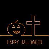 Contour Pumpkin And Cross. Happy Halloween Card. Black Background. Flat Design.