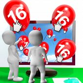 foto of sweet sixteen  - Number 16 Balloons from Monitor Showing Internet Invitation or Celebration - JPG
