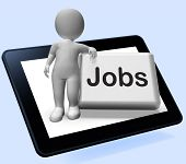 Jobs Button With Character Tablet Shows Hiring Recruitment Online Hire Job