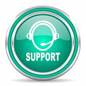 support green glossy web icon