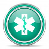 emergency green glossy web icon