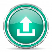 upload green glossy web icon