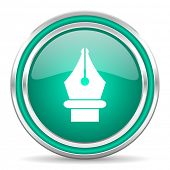 pen green glossy web icon