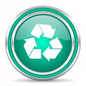 recycle green glossy web icon