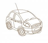 car isolated on white (vector illustration)