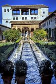 Generallife Alhambra White Palace Garden Fountaingranada Andalusia Spain