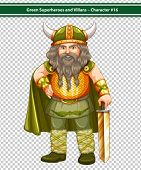 Illustration of an old male viking warrior