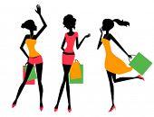 Three shopping girls