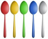 Illustration of many different color spoons