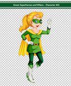 Illustration of a blonde female superhero