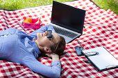 Working Woman Resting In Garden