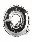 Chrome silver balloon font part of full set upper case letters,Q