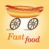 picture of meals wheels  - Hot dog on wheels as idea of fast food - JPG