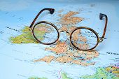Glasses on a map of europe - Dublin