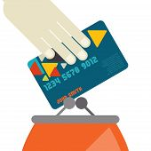 Credit Card And Purse In Flat Design Style