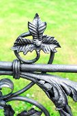 Iron Floral Ornament. Part Of Antique Curved Fence In Warsaw.