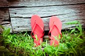 Leaning Red Flip-flops