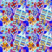 Seamless present pattern. Vector background.