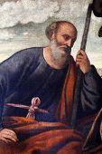 ZAGREB, CROATIA - DECEMBER 12: Bernardino Licinio: Saint Joseph, exhibited at the Great Masters rene