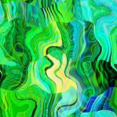 art abstract colorful chaotic waves seamless pattern; background with green, black, yellow and blue