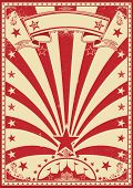 Circus color red. A grunge red vintage poster with a circus tent for your advertising.