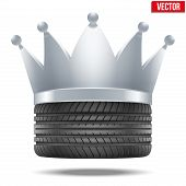 Realistic rubber tire with a silver crown