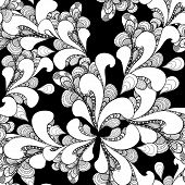 Abstract doodle seamless pattern on black background