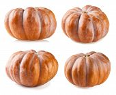 Set of pumpkins isolated on white background