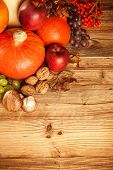 picture of wooden basket  - Autumn concept shot from top - JPG