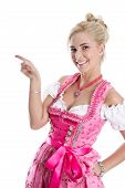 Beautiful Bavarian Woman Isolated Making Promotion For Oktoberfest In Munich.