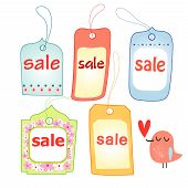 stock photo of shoplifting  - bright multicolored shoplifting tags with the sale of a white background - JPG