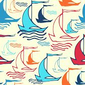 Seamless pattern with decorative retro sailing ships on waves. V