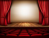 picture of drama  - A theater stage with a red curtain - JPG