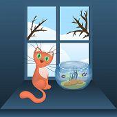 Cartoon cat and aquarium with fishes