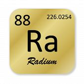 stock photo of radium  - Black radium element into golden square shape isolated in white background - JPG