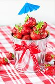 Generous Crop Of Ripe Fresh Juicy Gourmet Strawberry In Decorative Pail.
