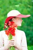 Young Beautiful Lady/girl In Red Hat With Poppy Flowers Bouquet.