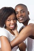 Cute Young Black Couple joking and playing