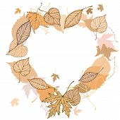 Heart shaped wreath made of autumn leaves illustration