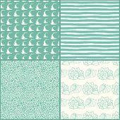 Set of decorative nautical seamless patterns