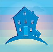 Illustration Of House On Colour Background. Can Be Used As Icon Home