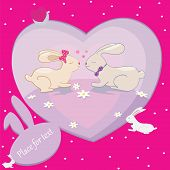 Rabbits Love Hearts Vector Card With Place For Text