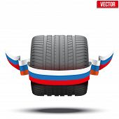 sports car race wide wheel with winner ribbon