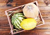 Melons and watermelons in wooden box on wooden background